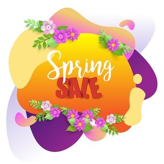 Fond de vente de printemps avec belle fleur abstraite et colorée.
