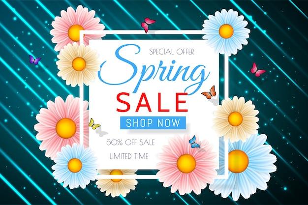 Fond de vente de printemps avec une belle fleur colorée. modèle de conception florale pour coupon, bannière, bon ou affiche promotionnelle.
