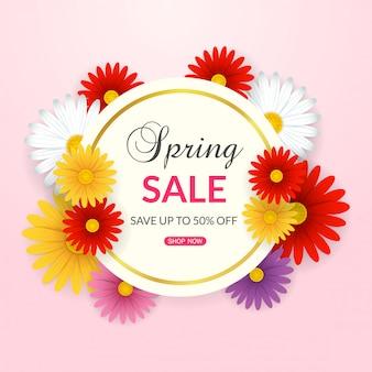 Fond de vente de printemps avec de belles fleurs colorées