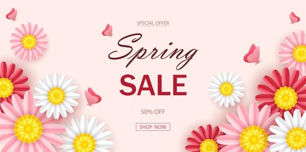 Fond de vente de printemps avec de belles fleurs