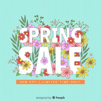 Fond de vente de printemps dessinés à la main