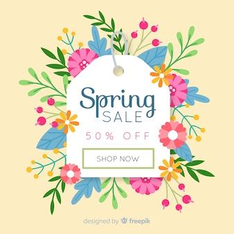 Fond de vente printemps étiquette florale