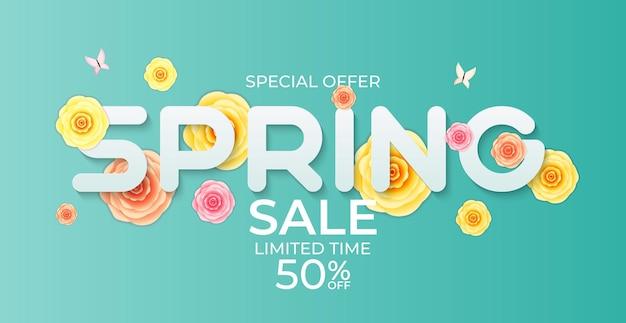 Fond de vente de printemps de fleur légère naturelle.