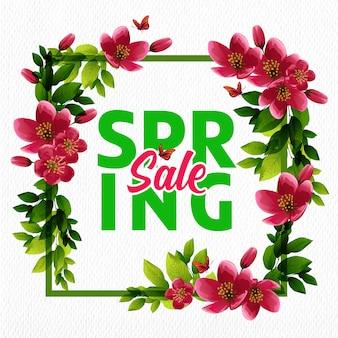 Fond de vente de printemps de fleurs de cerisier rouge