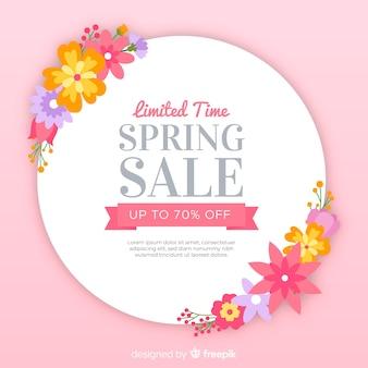 Fond de vente printemps floral plat
