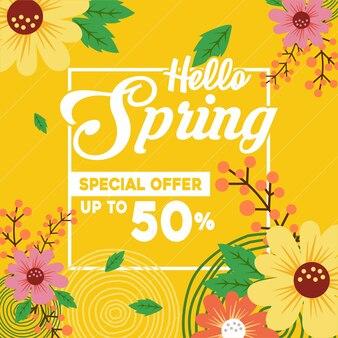 Fond de vente de printemps avec illustration de fleurs