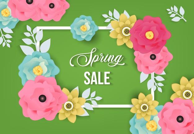 Fond de vente de printemps avec motif de fleurs
