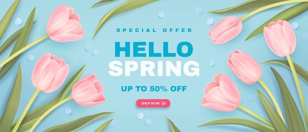 Fond de vente de printemps avec des tulipes réalistes