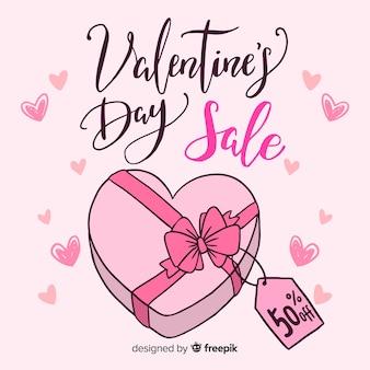 Fond de vente saint valentin boîte dessiné à la main