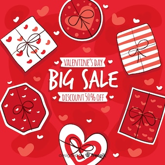 Fond de vente saint valentin cadeaux dessinés à la main