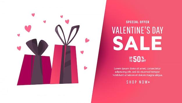 Fond de vente saint valentin avec coeur et cadeaux.