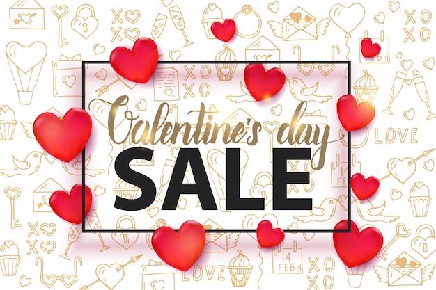Fond de vente saint valentin avec coeur rouge 3d et cadre modèle sans couture
