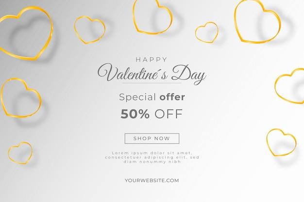 Fond de vente saint valentin avec des coeurs dorés
