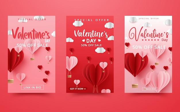 Fond de vente de la saint-valentin composition romantique avec des coeurs.