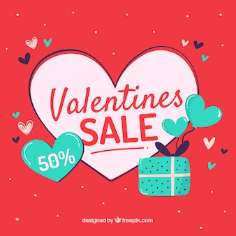 Fond de vente saint-valentin dessinés à la main