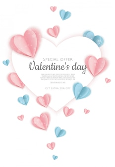Fond de vente de saint valentin avec forme de coeur. peut être utilisé pour des dépliants, des affiches, des bannières.