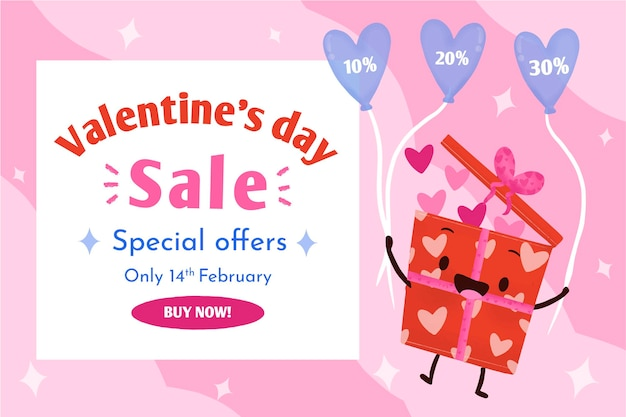 Fond de vente saint valentin illustré
