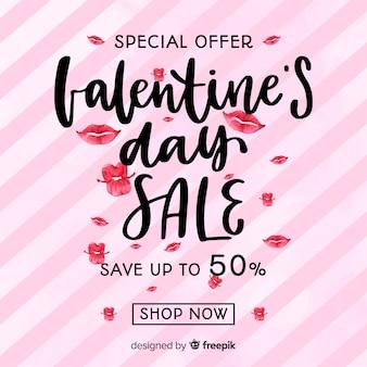 Fond de vente saint valentin lèvres dessinés à la main