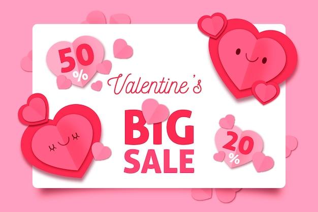 Fond de vente de la saint-valentin en style papier