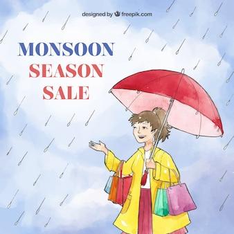 Fond de vente saison mousson dans un style aquarelle