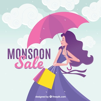 Fond de vente de saison de mousson avec fille et parapluie