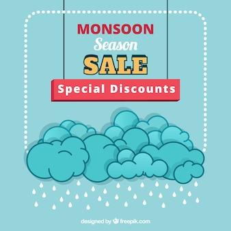 Fond de vente de saison de mousson avec des nuages