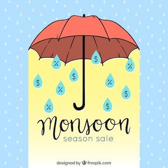 Fond de vente de saison de mousson avec parapluie