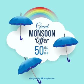 Fond de vente de saison de mousson avec des parapluies bleus