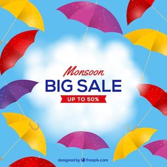 Fond de vente de saison de mousson avec des parapluies colorés