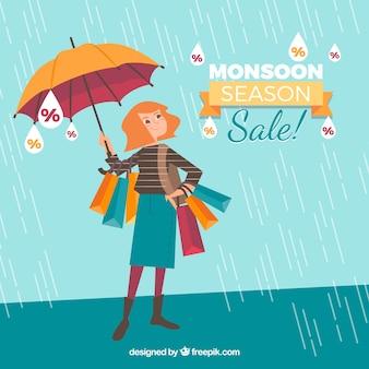 Fond de vente de saison de mousson