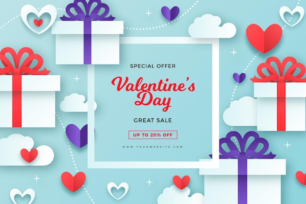 Fond de vente de style papier saint valentin