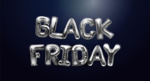 Fond de vente vendredi noir avec des ballons en métal sur un fond sombre. lettres argentées brillantes. design moderne fond universel pour affiches, bannières, flyers, cartes postales.