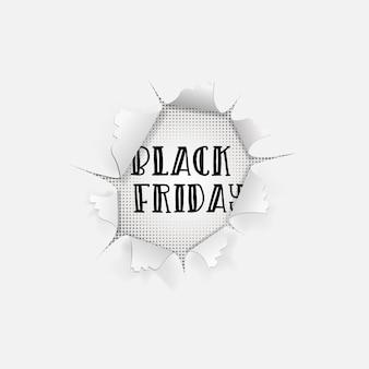 Fond de vente vendredi noir. bannière de typographie dans un trou dans du papier blanc