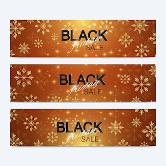 Fond de vente de vendredi noir. conception de bannières promotionnelles. fond d'hiver avec des flocons de neige dorés. illustration vectorielle.