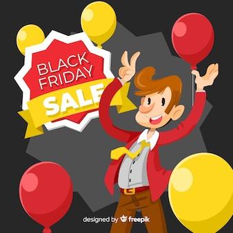 Fond de vente vendredi noir avec personnage mignon au design plat