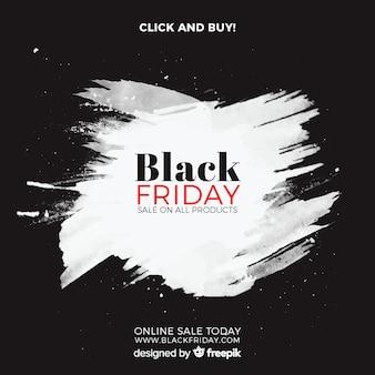 Fond de vente vendredi noir avec des taches d'aquarelle