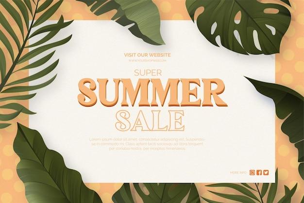Fond de vente de vente moderne avec des plantes tropicales réalistes