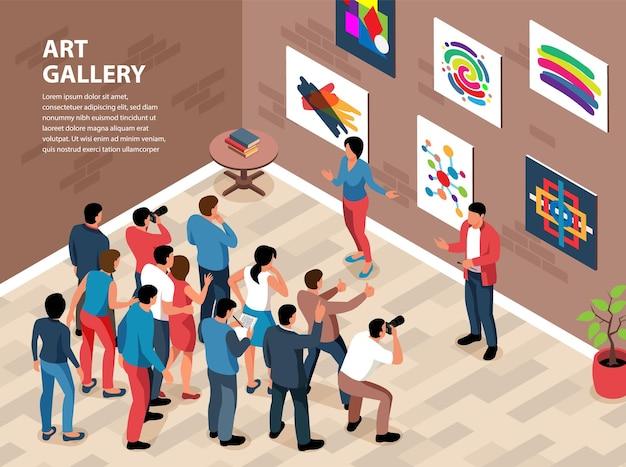 Fond de vernissage de la galerie d'exposition isométrique avec mur de composition intérieur avec peintures et personnes avec texte modifiable