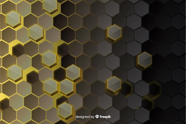 Fond de verre abstrait technologie hexagonale