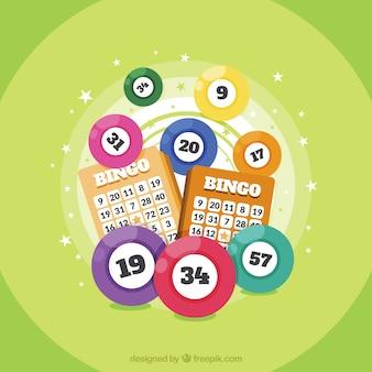 Fond vert avec des balles de bingo