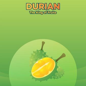 Fond vert de durian roi des fruits illustration vectorielle