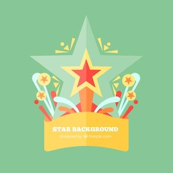 Fond vert avec des étoiles dans différentes tailles
