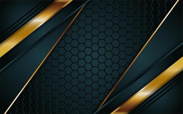 Le fond vert foncé de luxe se combine avec des lignes dorées éclatantes
