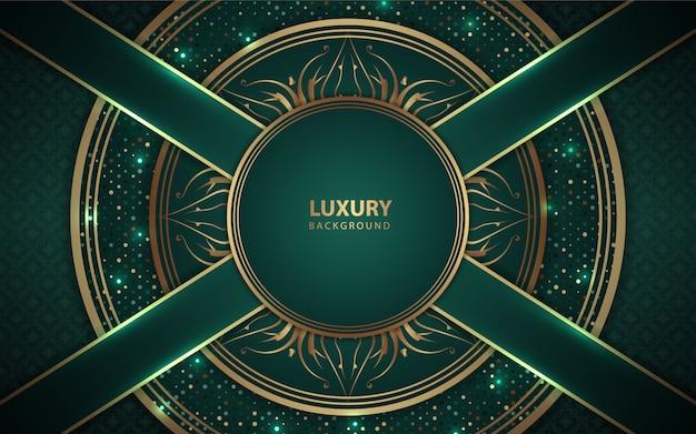 Fond vert de luxe avec décoration dorée