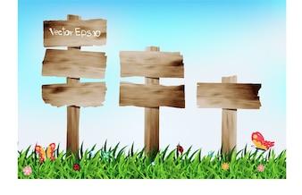 Fond vert naturel de vecteur avec panneau en bois