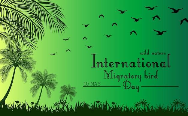 Fond vert avec palmier et oiseaux volants