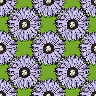 Fond vert tournesols modèle sans couture. belle texture avec un gros tournesol violet.