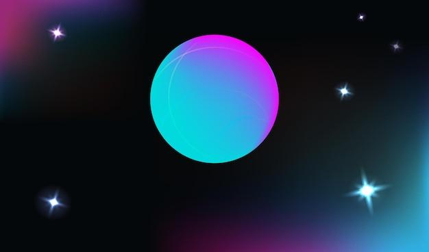 Fond vertical de l'espace vectoriel réaliste et futuriste avec des planètes et des étoiles lumineuses