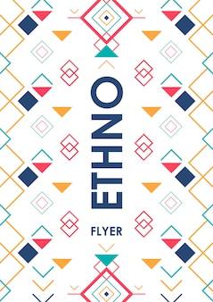 Fond vertical avec ornement ethnique géométrique. modèle d'affiche abstrait ethno avec place pour le texte