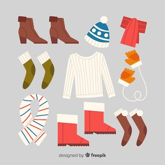Fond de vêtements d'hiver dessinés à la main